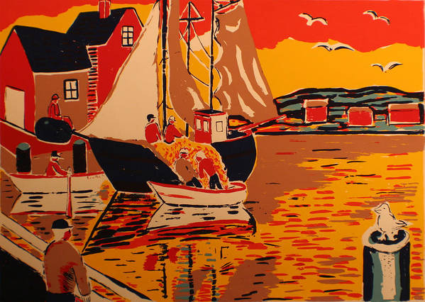 Art Print featuring the painting Fishing Boat by Biagio Civale