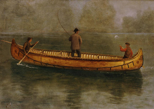 Fishing From A Canoe (oil On Canvas) American; Landscape; Lake; Kayak; Male; Leisure; Pastime; Paddle; Water Art Print featuring the painting Fishing From A Canoe by Albert Bierstadt