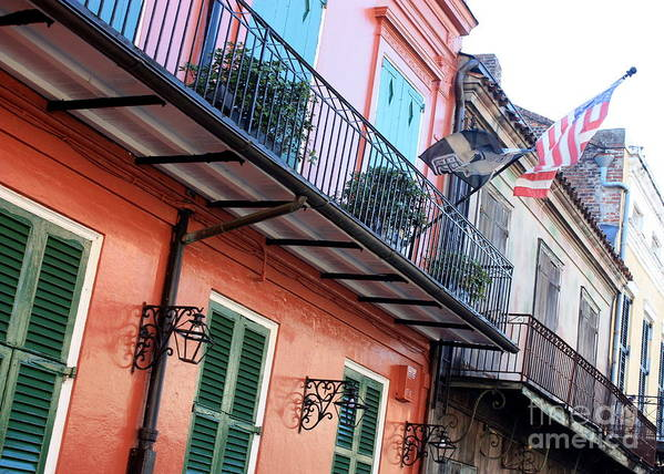 New Orleans Art Print featuring the photograph Flags On The Balcony by Carol Groenen