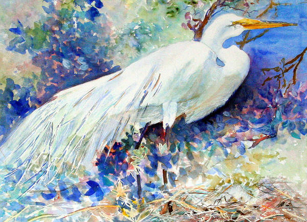 Bird Art Print featuring the painting Florida Egret With Nest by Joan Dorrill