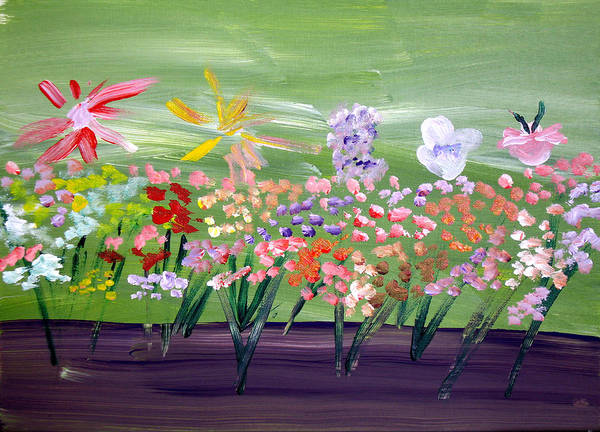 Flowers Art Print featuring the painting Flower Garden by Jeff Caturano