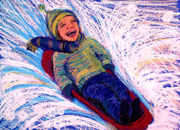 Sledding Art Print featuring the pastel Flying by Art Nomad Sandra Hansen