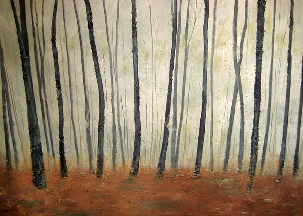 Trees Art Print featuring the painting Foggy Trees by Marcia Crispino