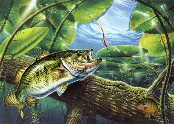 Jon Q Wright Fish Fishing Bass Largemouth Lure Lily Pads Lake Angling Bluegill Log Underwater Art Print featuring the painting Fooled Again Bass II by JQ Licensing