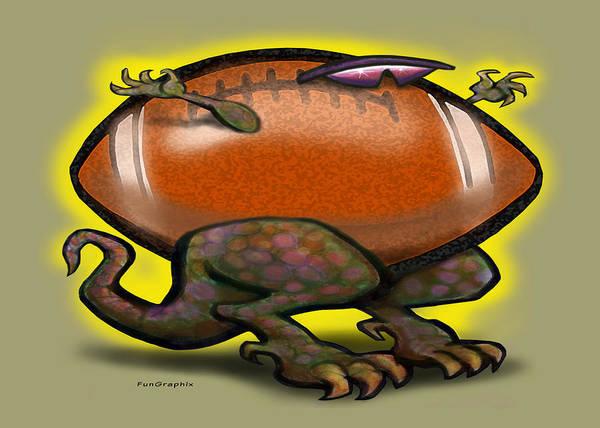 Football Art Print featuring the digital art Football Beast by Kevin Middleton