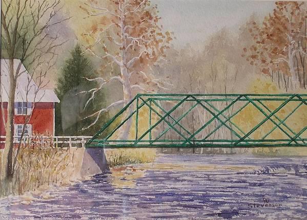 Fall Creek Bridge Art Print featuring the painting Forest Home-ithaca by Joseph Stevenson