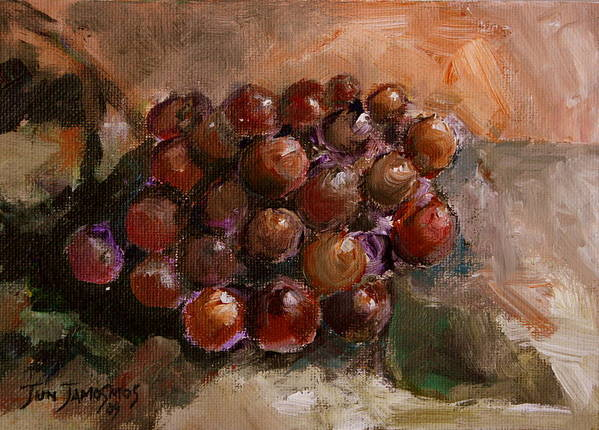 Grapes Art Print featuring the painting From The Vine by Jun Jamosmos