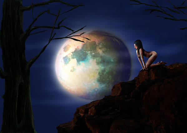 Moon Art Print featuring the digital art Full Moon by Virginia Palomeque