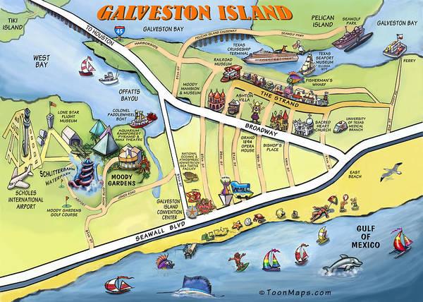 Galveston Art Print featuring the digital art Galveston Texas Cartoon Map by Kevin Middleton