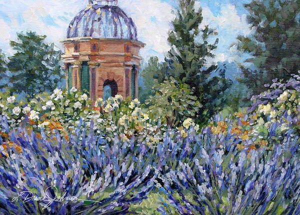 Provence France Art Print featuring the painting Garden Profusion - Lavendar by L Diane Johnson