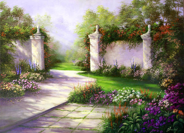 Landscape Art Print featuring the painting Gates In Menlo Park by Gail Salitui