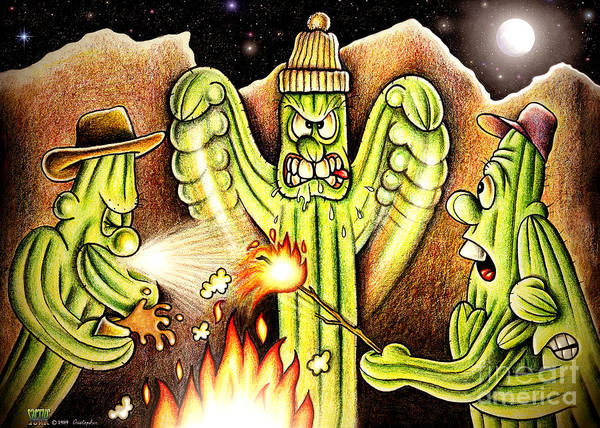 Cactus Art Art Print featuring the digital art Ghost Story by Cristophers Dream Artistry