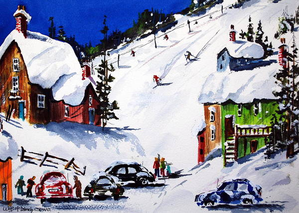 Skiing Winter Snow Sports Art Print featuring the painting Going Downhill by Wilfred McOstrich