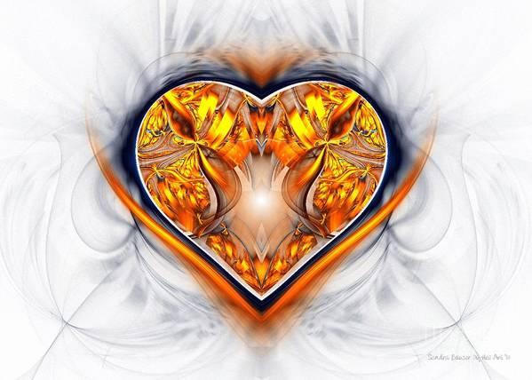 Digital Art Print featuring the digital art Gold And Sapphire Heart by Sandra Bauser Digital Art