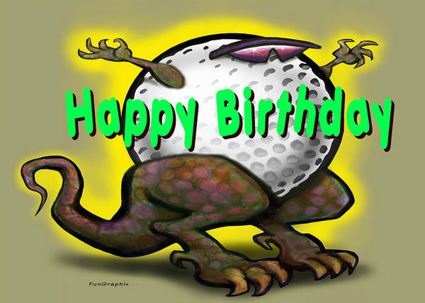 Golf Art Print featuring the greeting card Golf A Saurus Birthday by Kevin Middleton