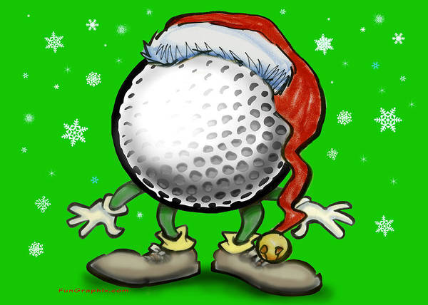 Golf Art Print featuring the greeting card Golfmas by Kevin Middleton