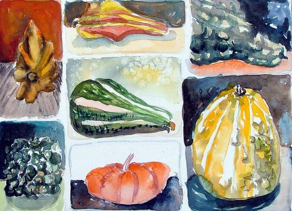 Gourd Art Print featuring the painting Gourd Collection by Mindy Newman