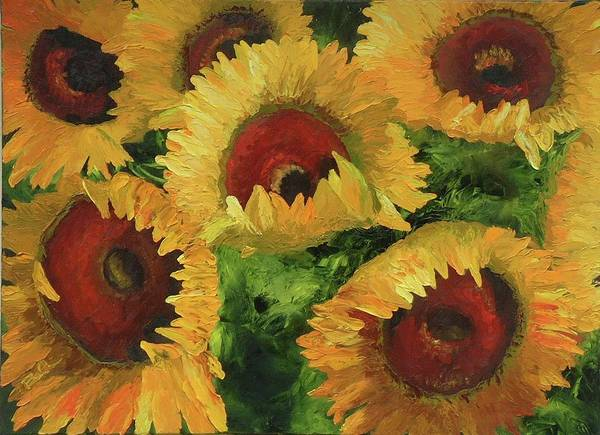 Sunflowers Art Print featuring the painting Grand Opening by Barbara Auito