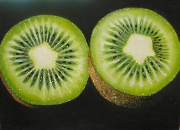Kiwi Art Print featuring the painting Green Kiwi Oil Painting by Natalja Picugina