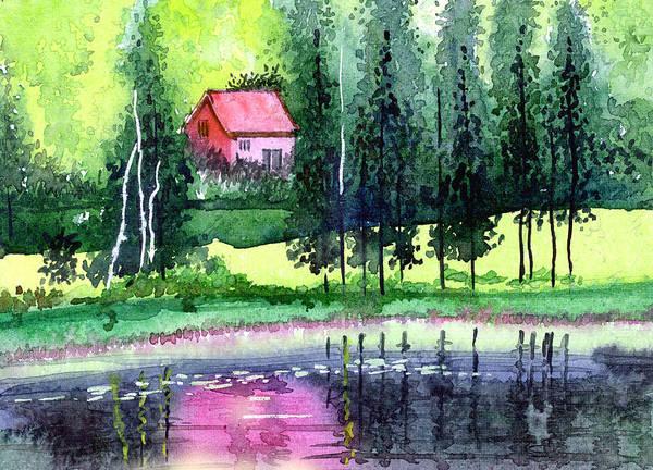 Landscape Art Print featuring the painting Guest House by Anil Nene