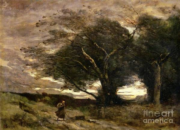 Gust Art Print featuring the painting Gust Of Wind by Jean Baptiste Camille Corot