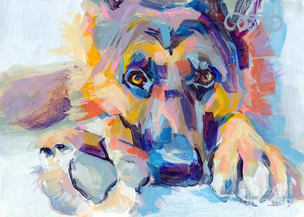 Shepherd Art Print featuring the painting Hagen by Kimberly Santini