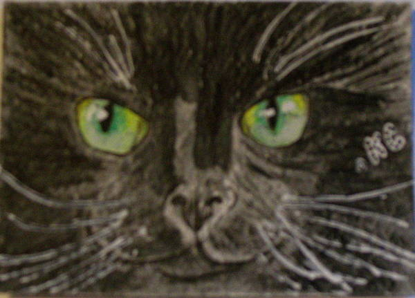 Halloween Art Print featuring the painting Halloween Black Cat I by Kathy Marrs Chandler