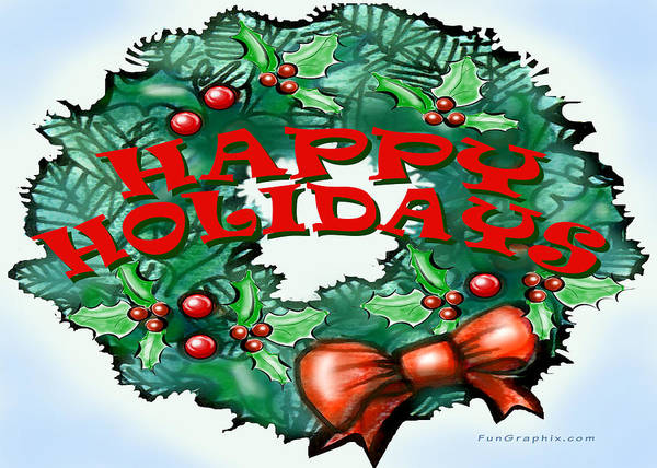 Happy Holidays Art Print featuring the greeting card Happy Holidays by Kevin Middleton