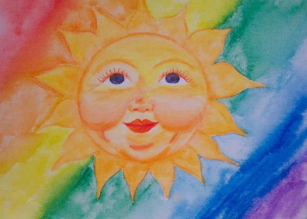 Sun Art Print featuring the painting Happy Sun by Jennifer Hernandez