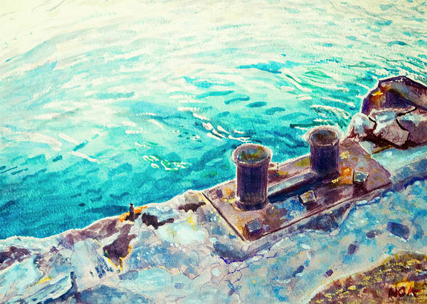 Seascape Art Print featuring the painting Harbor Jetty by Aymeric NOA