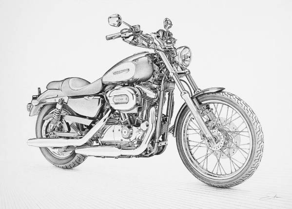 Bike Art Print featuring the drawing Harley Davidson 1200 Custom by Regan Peters
