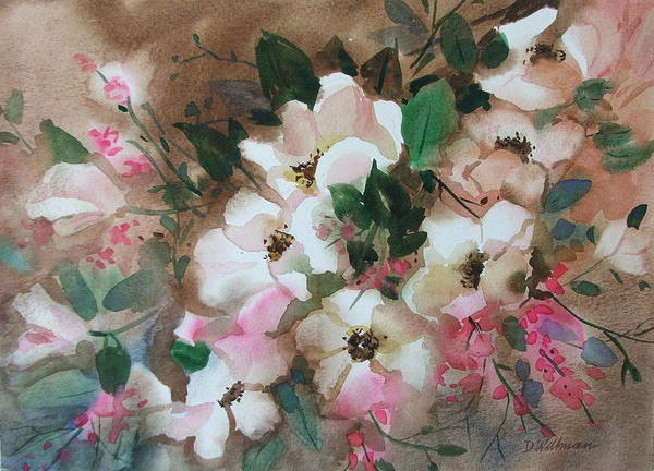 Spring Flowers Art Print featuring the painting Hawthorne Beauties by Dianna Willman