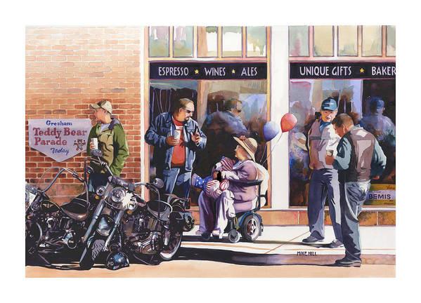 Motorcycles Bikes Hogs Bikers Harley Davidson Harleys Wheel Chair Teddy Bear  Art Print featuring the painting Hilda Hogs And Harleys by Mike Hill