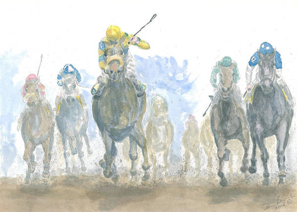 Horse Race Art Print featuring the painting Homestretch by Dan Bozich