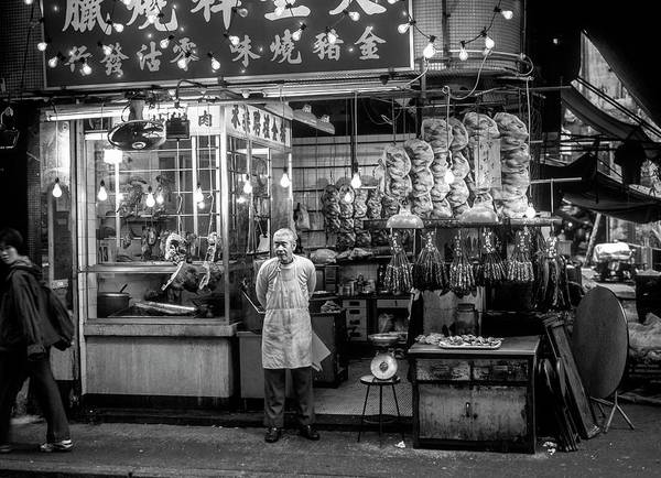 Adult Art Print featuring the photograph Hong Kong Foodmarket In Black And White, China by Ruurd Dankloff