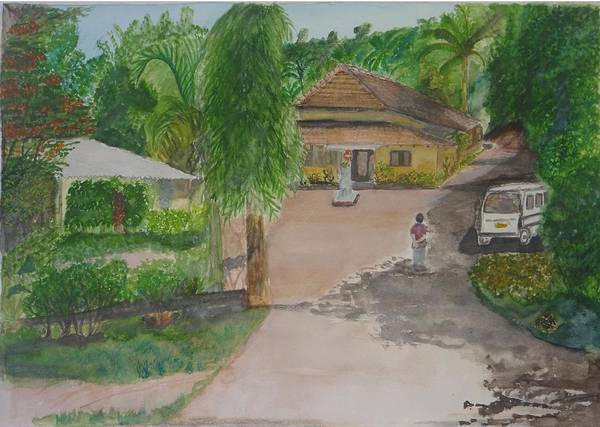Traditional House In Goa Art Print featuring the painting House In Goa by Saloni Verma