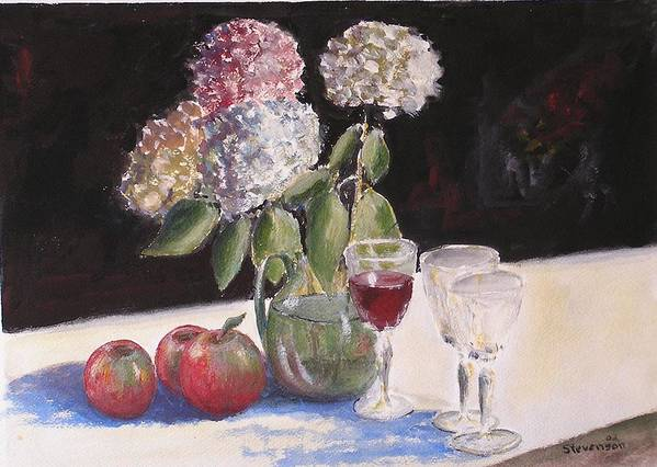 Still Life Of Glass Art Print featuring the painting Hydrangeas Apples And Wine by Joseph Stevenson