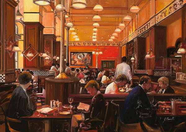 Coffee Shop Art Print featuring the painting In Birreria by Guido Borelli