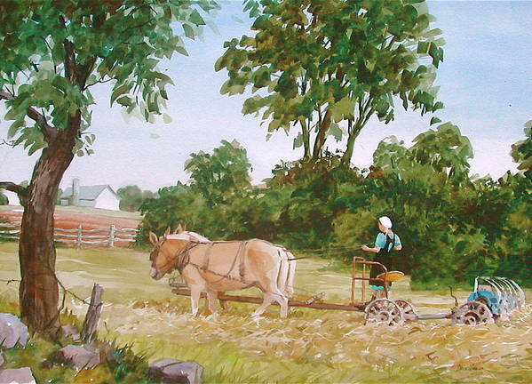 Amish Art Print featuring the painting In The Hayfield by Faye Ziegler