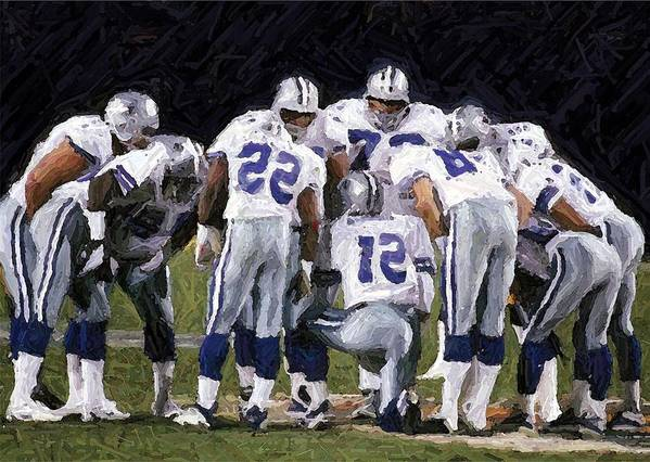 Dallas Cowboys Art Print featuring the digital art In The Huddle by Carrie OBrien Sibley