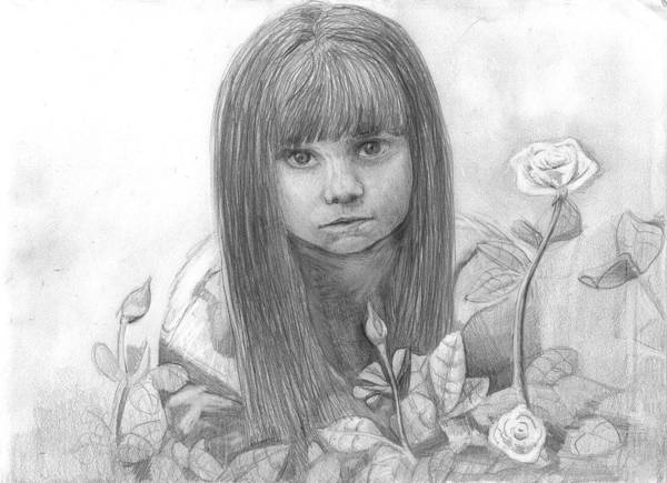 Little Girl Roses Art Print featuring the drawing Innocence by Katie Alfonsi