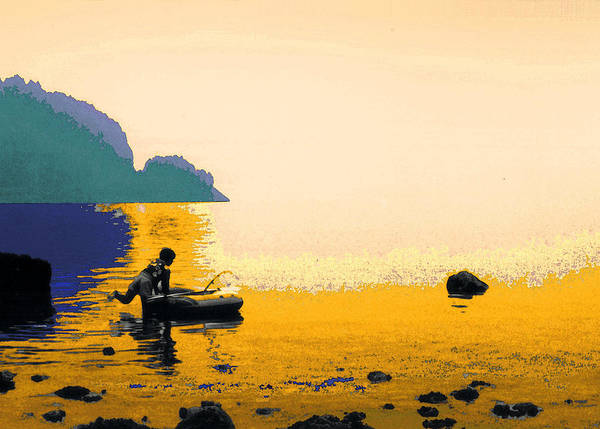 Fishing Art Print featuring the photograph Into The Stillness - Yellow by Lyle Crump