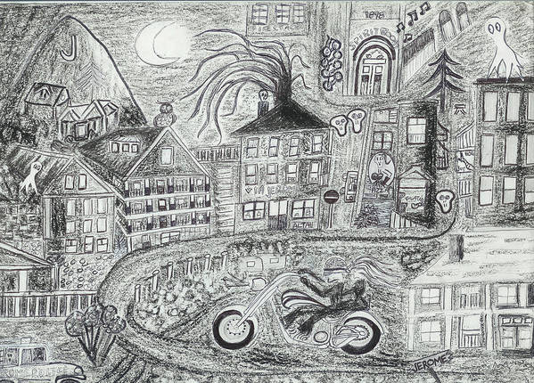 Jerome Panorama Art Print featuring the drawing Jerome Moonlight Arizona by Ingrid Szabo