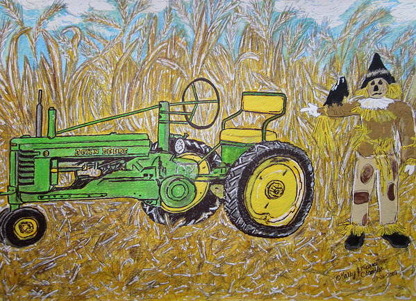 John Deere Art Print featuring the painting John Deere Tractor And The Scarecrow by Kathy Marrs Chandler