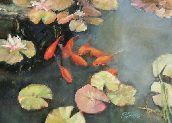 Koi Art Print featuring the painting Koi Pond by Robert Tutsky
