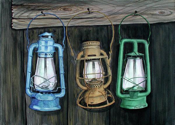 Lanterns Art Print featuring the painting Lanterns by Ferrel Cordle