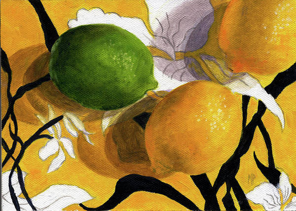 Still Life Art Print featuring the painting Lemons And Lime by Marina Petro