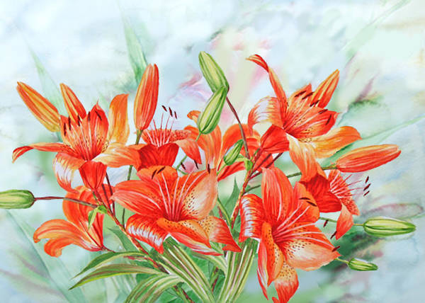 Lilies Art Print featuring the digital art Lilies by Natalia Piacheva