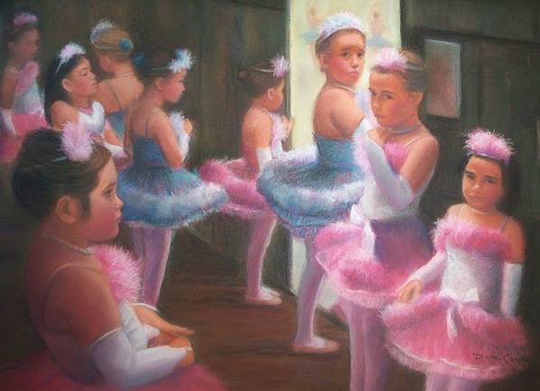 Ballet Art Print featuring the pastel Little Ballerinas Backstage At The Recital by Diane Caudle