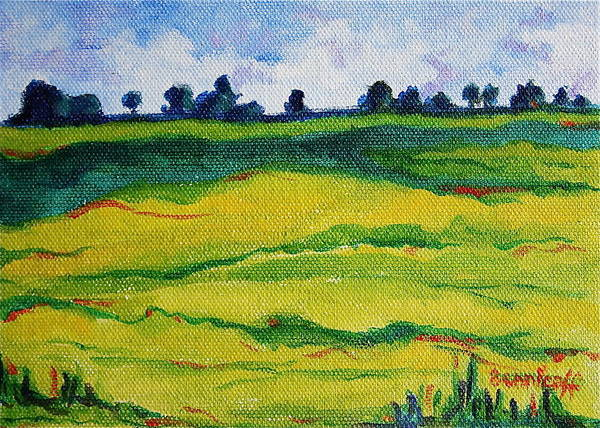Expressionist Landscape Art Print featuring the painting Little Landscape by Jan Bennicoff